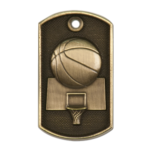 Personalized Basketball Dog Tags | Antique Gold
