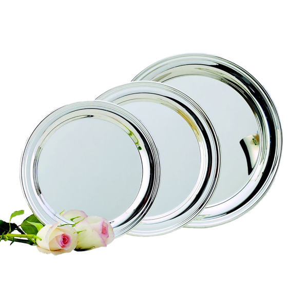 Engraved Simon Round Nickel Plated Tray