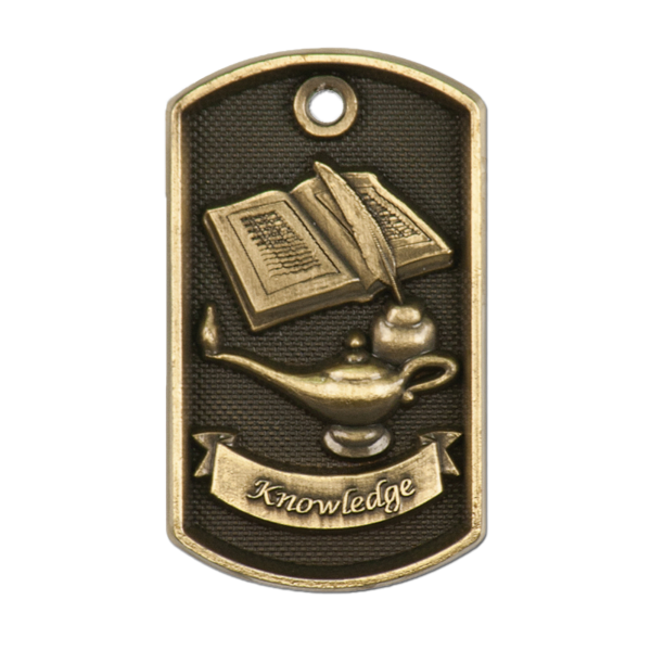 Personalized Lamp of Knowledge Dog Tag Award