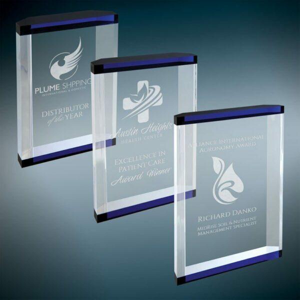 Teacher Recognition Awards   Blue Double Banded Acrylic Award