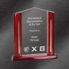 Engraved Awards | Cathedral Acrylic Award, Rosewood Finish