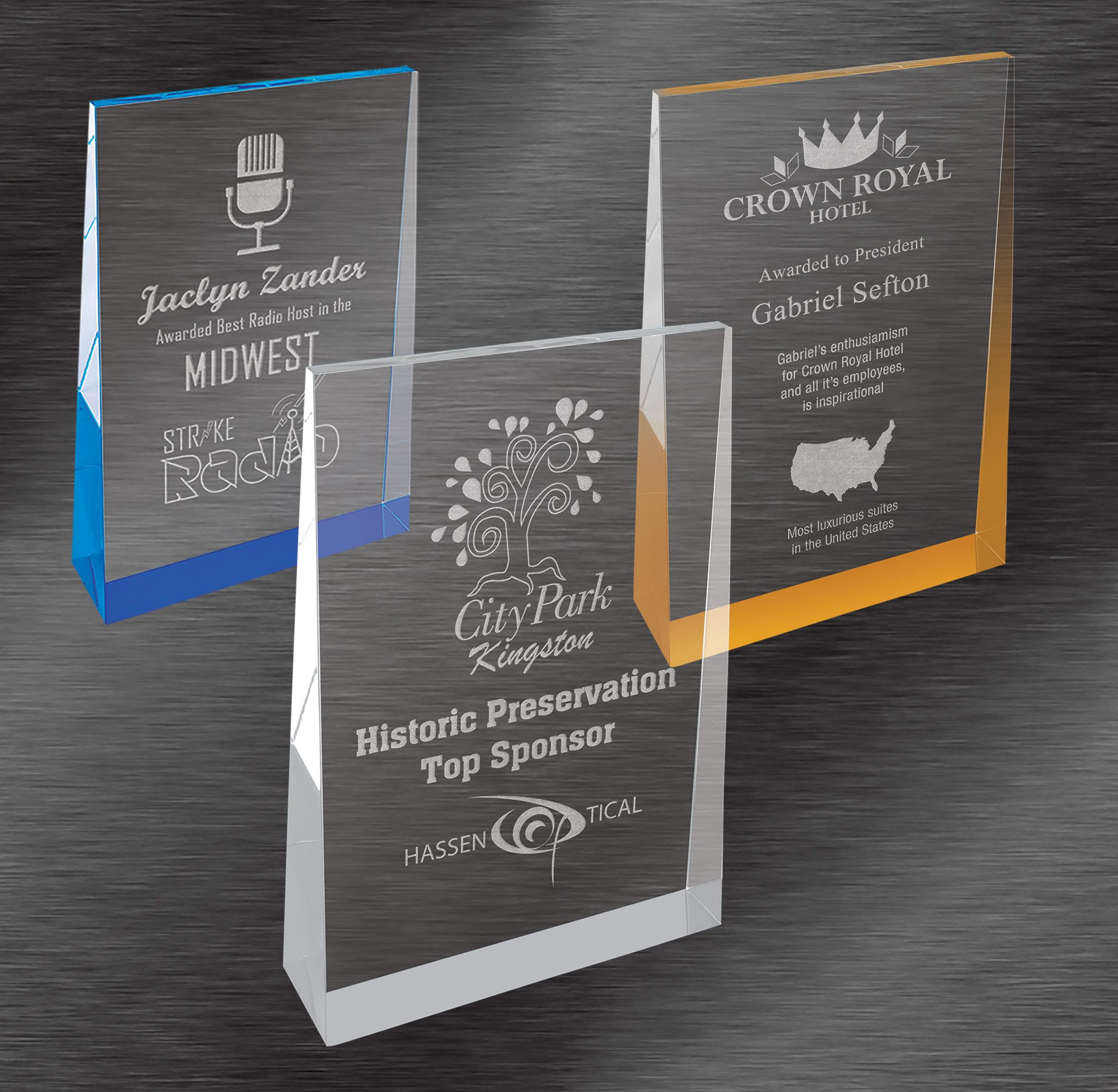 Volunteer Awards | Frost Engraved Acrylic Wedge, Choice of Color
