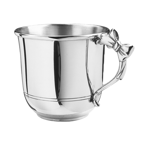Baby Girl Gift Ideas | Personalized Pewter Baby Cup with Bow Handle