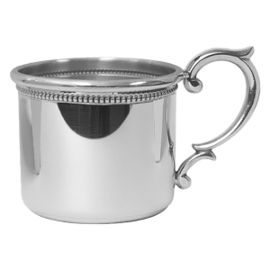 New Baby Gift Ideas | Personalized Pewter Baby Cup with Beaded Detail