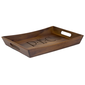 Wooden Serving Tray with Handles Acacia