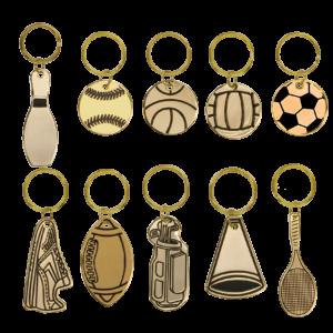 Brass Sports Themed Keychains