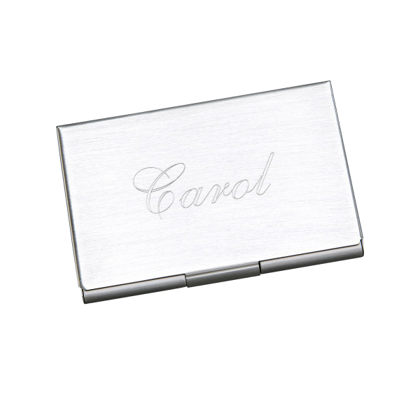Personalized Business Card Holder Brushed Metal