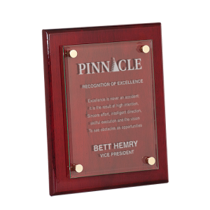 Glass Plaque Award | Rosewood Piano Finish Floating Glass Plaque