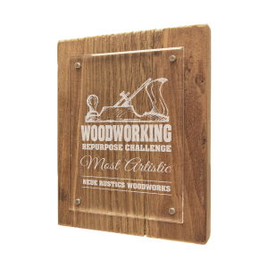 Unique Award Plaques | Reclaimed Wood, Floating Acrylic Plaque