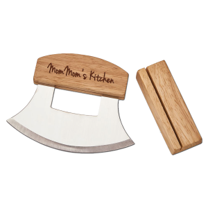 personalized Alaskan ulu knife and stand