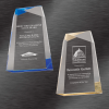 Custom Acrylic Awards | Facet Wedge Acrylic Award, Blue or Gold