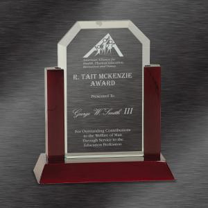 Jade Clip Corner Glass Award with Rosewood Finish Base