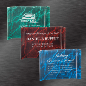 Service Award Ideas | Marbleized Acrylic Crescent Award, Choice of Color