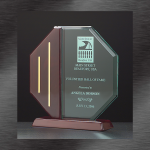 Awards and Recognition | Jade Octagon Acrylic Award with Rosewood Accent