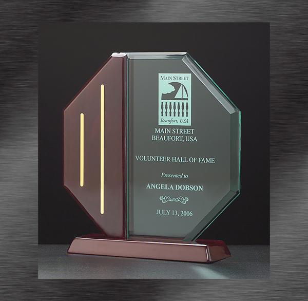 Octagon Jade Acrylic Award