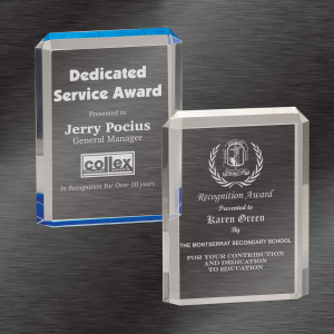 Personalized Awards | Premier Acrylic Awards, Blue or Clear