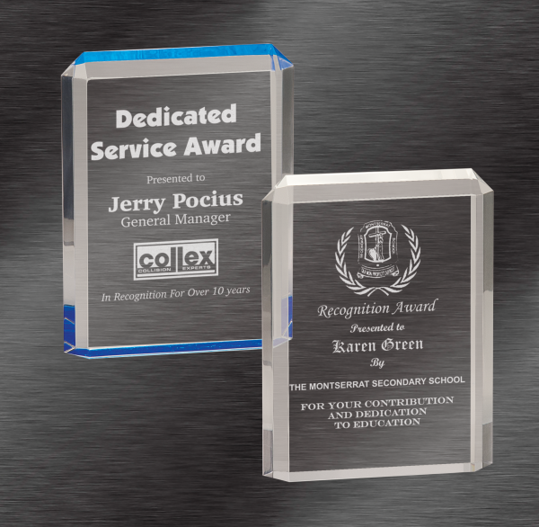 Personalized Awards   Premier Acrylic Awards, Blue or Clear