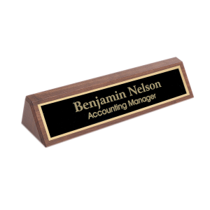 Personalized Desk Name Plate | Solid Walnut