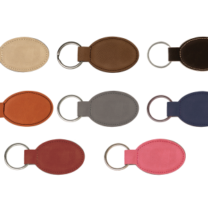 Monogram Keychain | Personalized Faux Leather Keychains, Oval