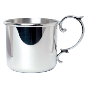 Unique Baby Gifts | Personalized Pewter Baby Cup with Scroll Handle