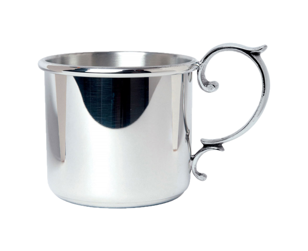 Personalized Scroll Handle Pewter Baby Cup