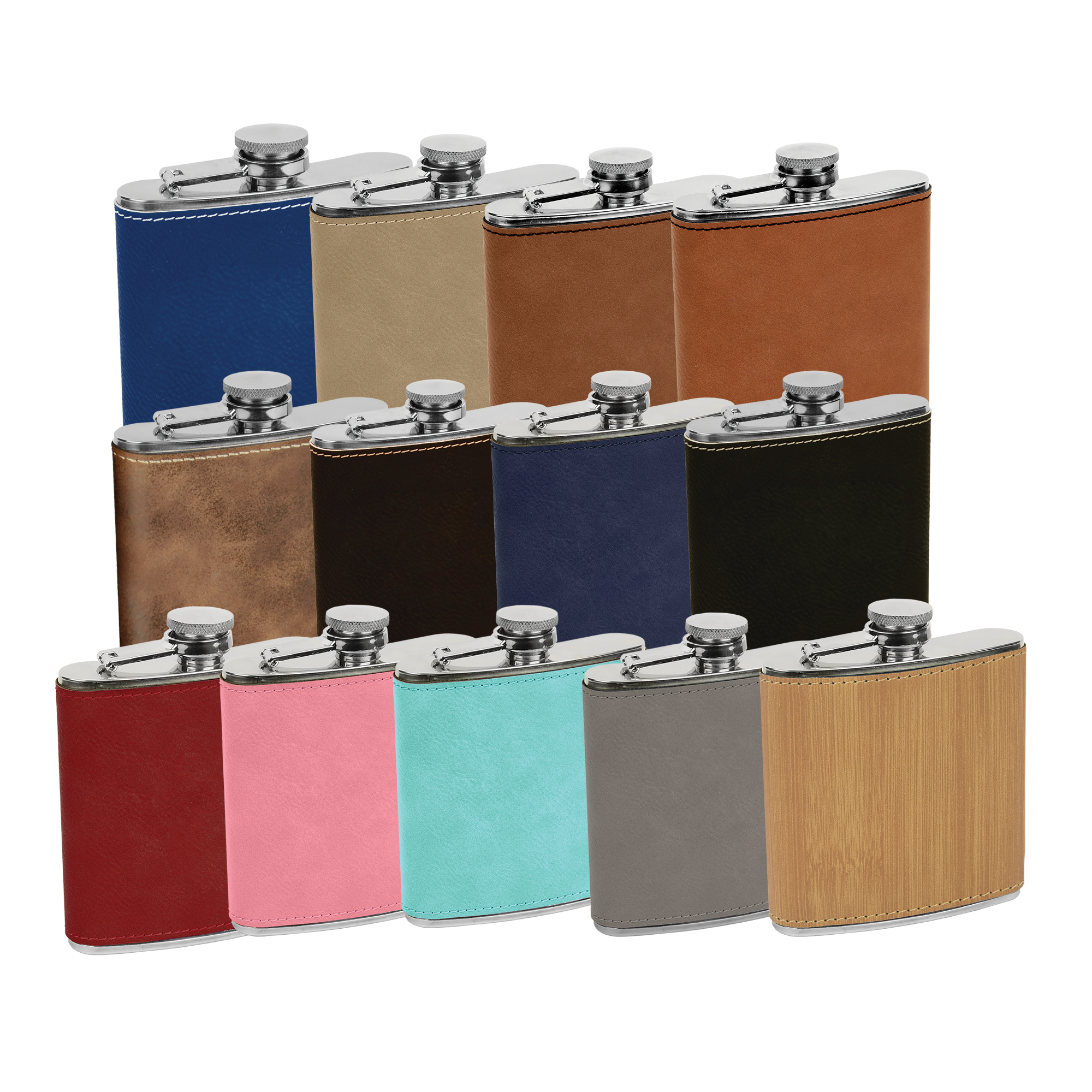 Engraved Flask | 6 oz Hip Flask | Faux Leather